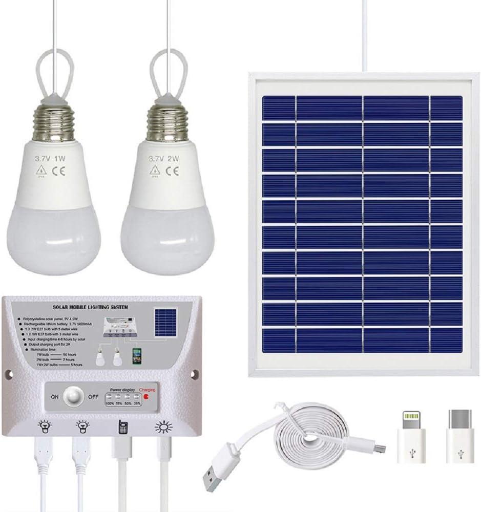 Xinhe Kit de Luces de Panel Solar, Luces solares para el hogar, con Controlador de Interruptor, 2 Bombillas LED, 3 Puertos USB para Interior y Exterior, Camping, Garaje, Emergencia: Amazon.es: Jardín