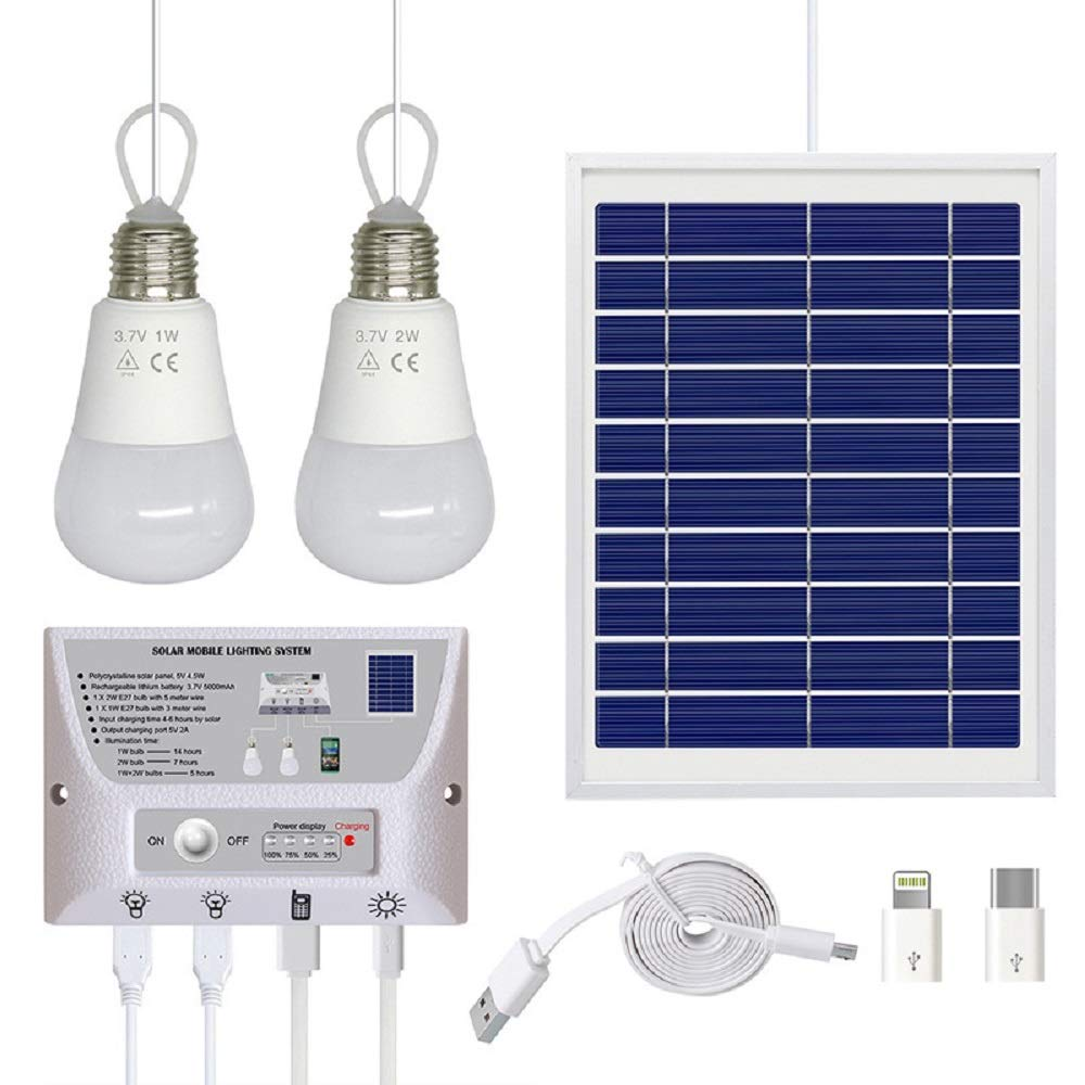 Solar Panel System Lights Kit, Upgraded Portable Home Solar Lights Outdoor Solar Powered Charger with Switch Controller, 2 LED Bulbs, 3 USB Ports for Indoor Outdoor Camping Garage Emergency by WaHe (Image #1)