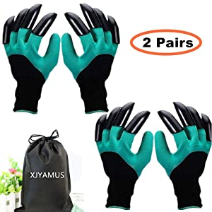 Garden Genie Gloves, Waterproof Garden Gloves with Claw For Digging Planting, Best Gardening Gifts for Women and Men. (Green-2A)
