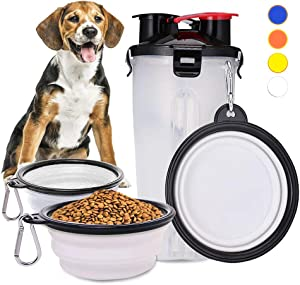 NINEMAX 2-in-1 Dog Water Bottle with Collapsible Dog Bowls,Portable Dog Food Container and Water Dispenser for Traveling,Walking,Hiking