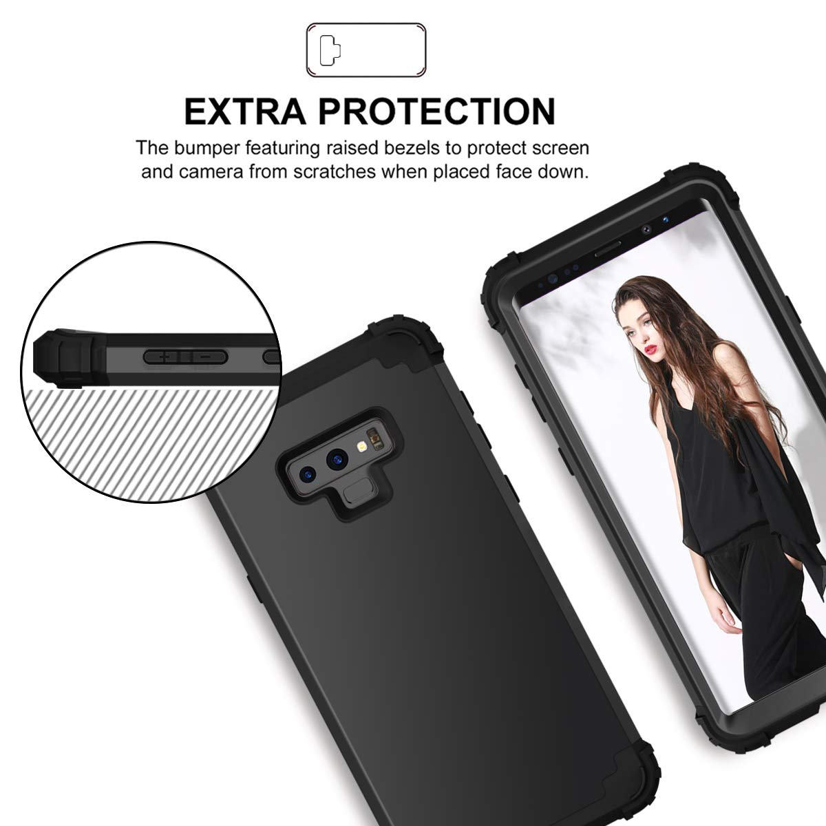 SHUANGFANG Samsung Galaxy Note 9 Protective Case,Defender Full Body Protection Rugged case Galaxy Note 9 (2018) (Note9 L Black)