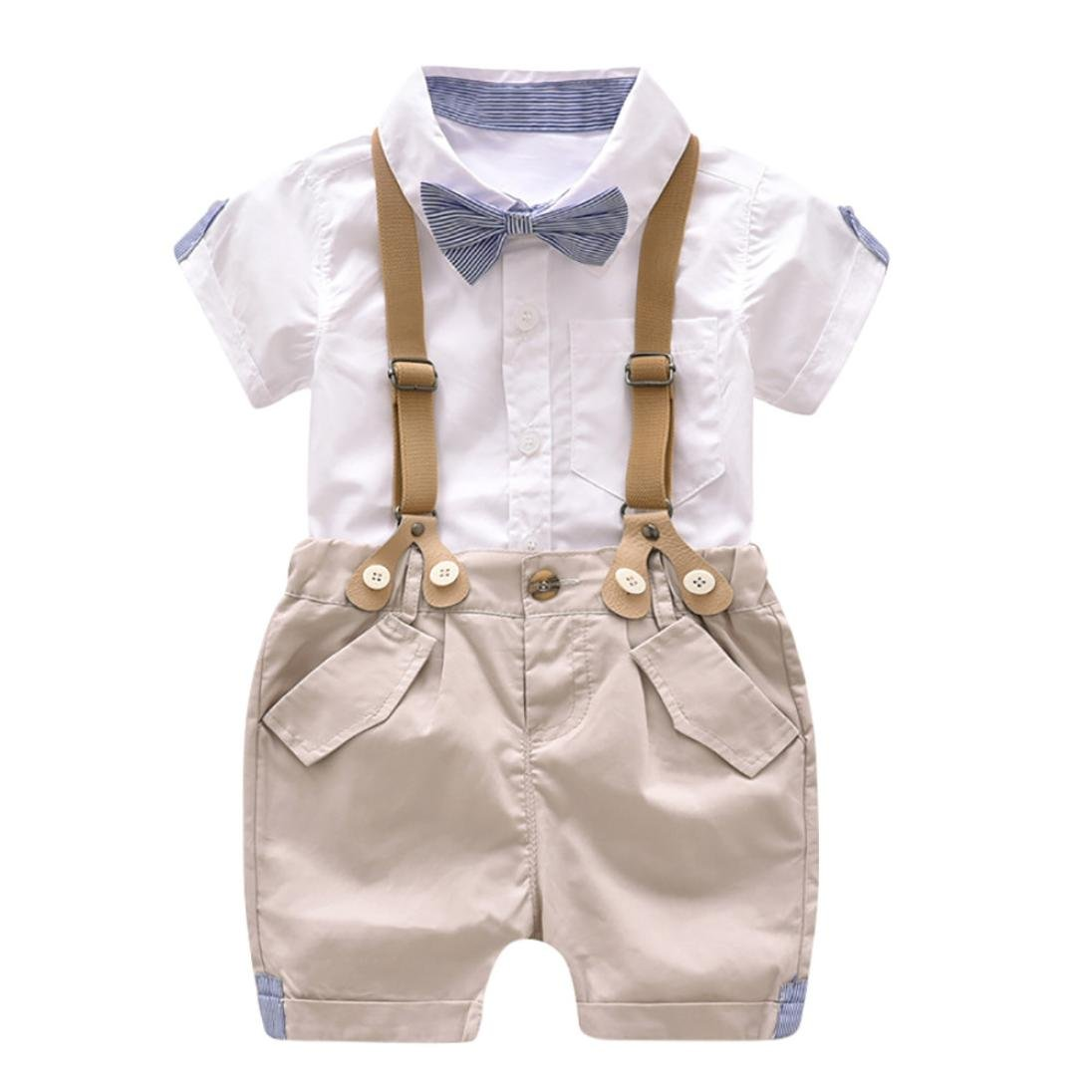 IEason Kids Baby Boys Summer Gentleman Bowtie Short Sleeve Shirt+Suspenders Shorts Set White)