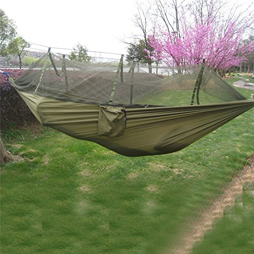 260 x 130 cmポータブル高強度パラシュートナイロンアーミーグリーンキャンプMosquito Hammock with Mosquito Nets – All U Need B01M6UO004