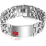 Men's Medical Alert ID Bracelet Stainless Steel Wrist Link Chain (Free Engraving),8.5-9.2 inches