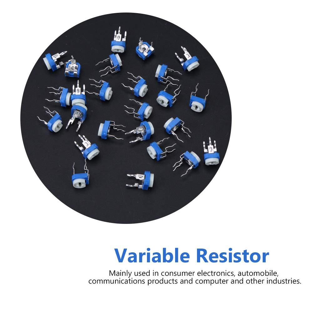 375Pcs 15 Valeurs 100ohm 1Mohm Kit dAssortiment de R/ésistances Variables de Potentiom/ètre avec Bo/îte