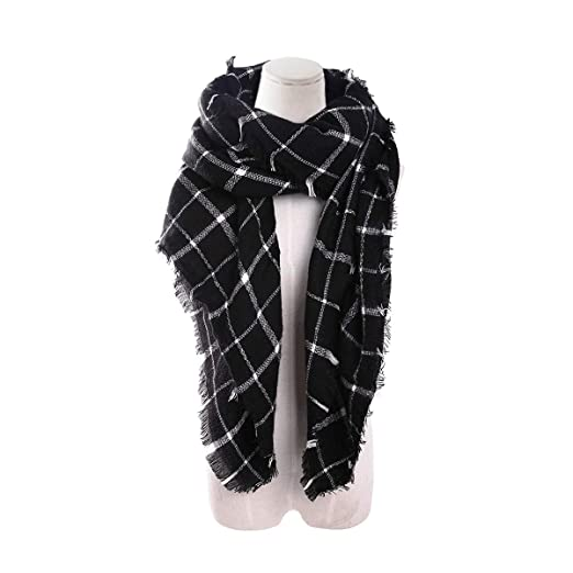 13cd2acecd3ed Women Square Plaid Blanket Scarf Shawl for Winter Wear Valentine Oversized  Warm Soft Chunky Square Scarf