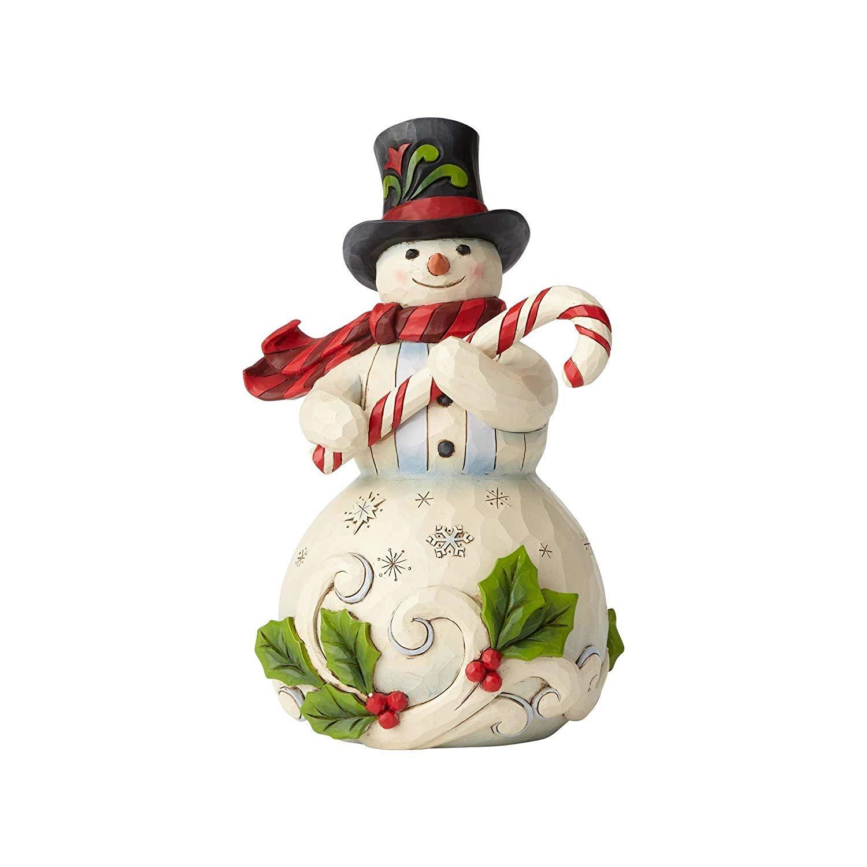 Heartwood Creek Snowman with Candy Cane Figurine Decorazione, Multicolour, Taglia Unica Enesco 6001477