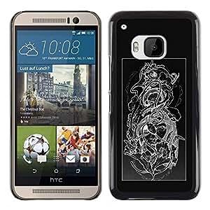 """For HTC One ( M9 ) Case , Diseño floral Negro Blanco Cráneo floral"""" - Diseño Patrón Teléfono Caso Cubierta Case Bumper Duro Protección Case Cover Funda"""