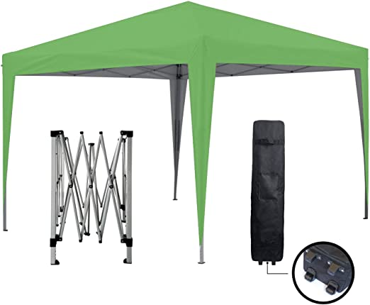 GREADEN Tonnelle de Jardin Verte 3x3m ECO BRISO Tube 30mm en Aluminium &  Acier Bâche 420D étanche Tente Pliante de réception + Sac de Transport