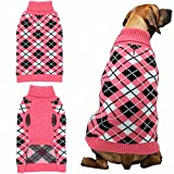 Dog Sweater Coat Apparel - Plaid Knitwear Winter Clothes,Pink,M