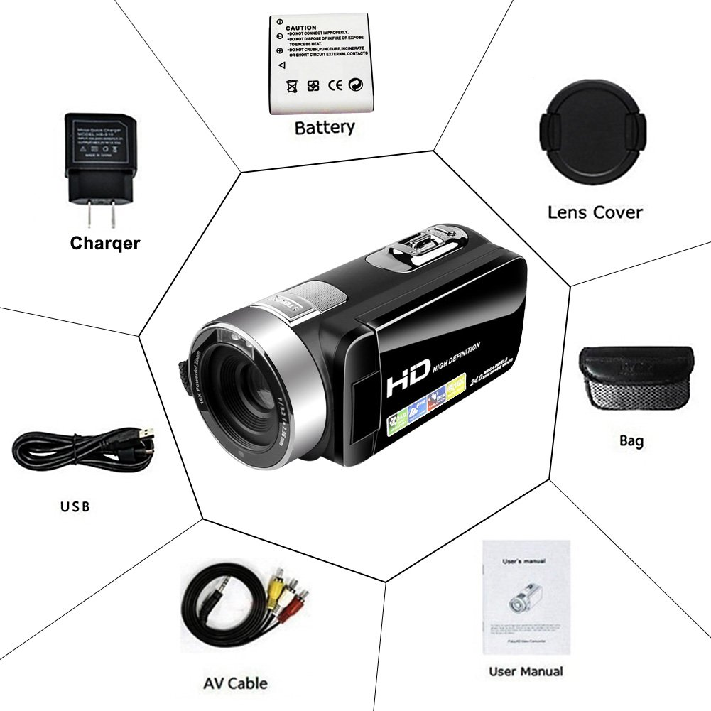 Camcorder Video Camera Full HD 24.0MP Camcorders Digital Camera 1080p 3.0'' Rotatable LCD for Vlogging Webcam Pause Function Dual LED Lights by SUNLEA (Image #6)