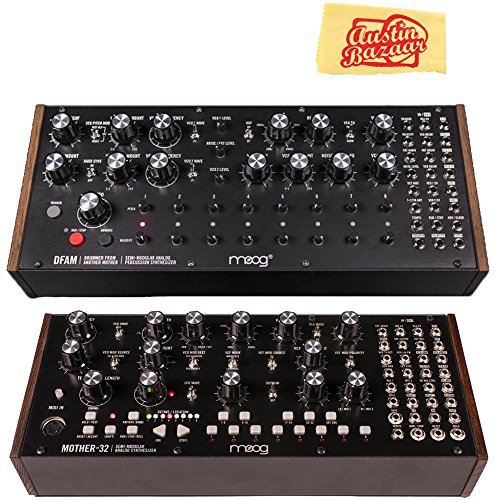 Moog DFAM Drummer from Another Mother Semi-Modular Analog Percussion Synthesizer Bundle with Moog Mother-32 and Austin Bazaar Polishing Cloth