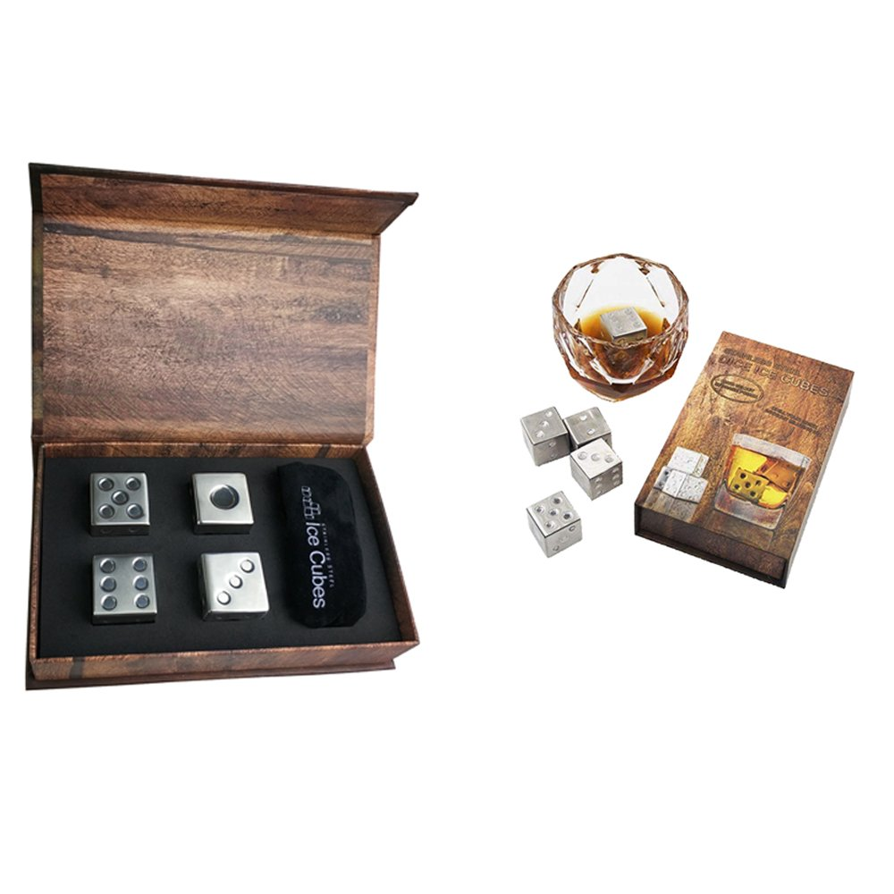 Stainless Steel Reusable Ice Stones Whiskey Stones Gift Set Dice Shaped Chilling Stone [Whisky Rocks] Perfect for Any Bar Party and Home for Whiskey/Wine/Beer/Beverages