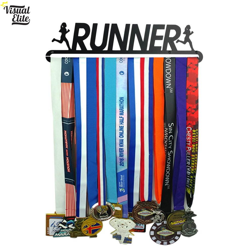 The Medal Hangers Collection Visual Elite 5K Medal Hanger Hand-Forged Black Metal Hanger Design for Marathon Race Runner Running Etc