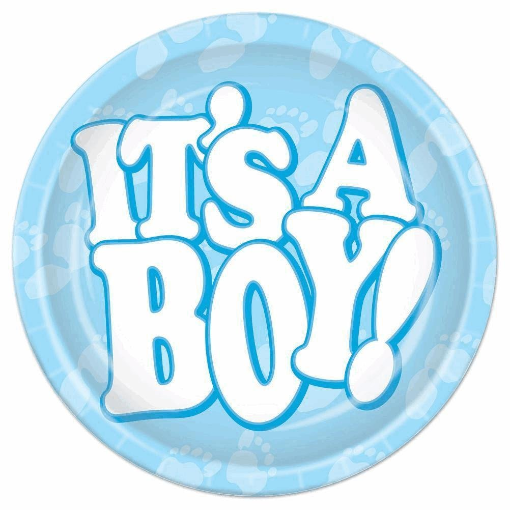 Beistle Its A Boy Plates Light Blue//White 58069 7-Inch