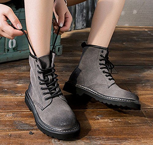 Lace Comfortable Booties Womens Round Toe Up Ankle Gray High Boots Aisun Top Flat IwZUqpfypc