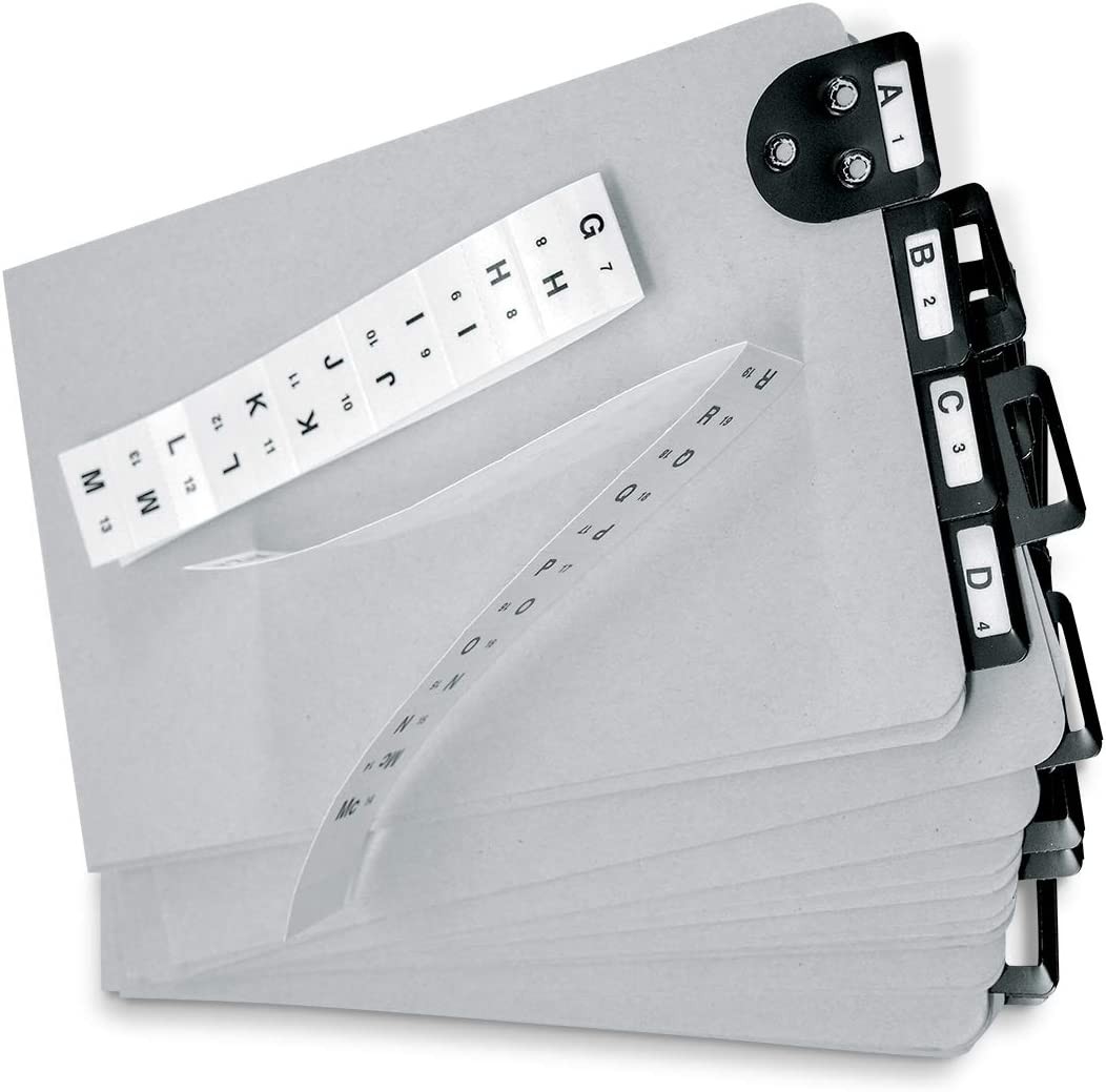 """Martin Yale 14254 Posting Tray Index Set, 25 Press-Board Dividers for 6"""" x 9"""" Sheets, Includes A-Z Categories and Blank Inserts, Metal Tab Index"""