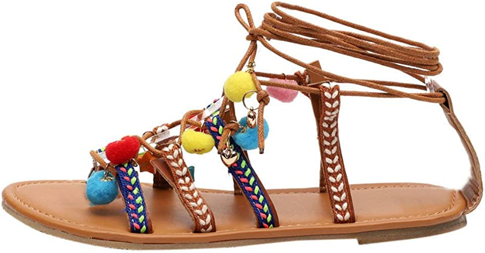 Ladies Women/'s Flats Summer Ankle Strep Gladiator Beach Sandals Holidays Shoes