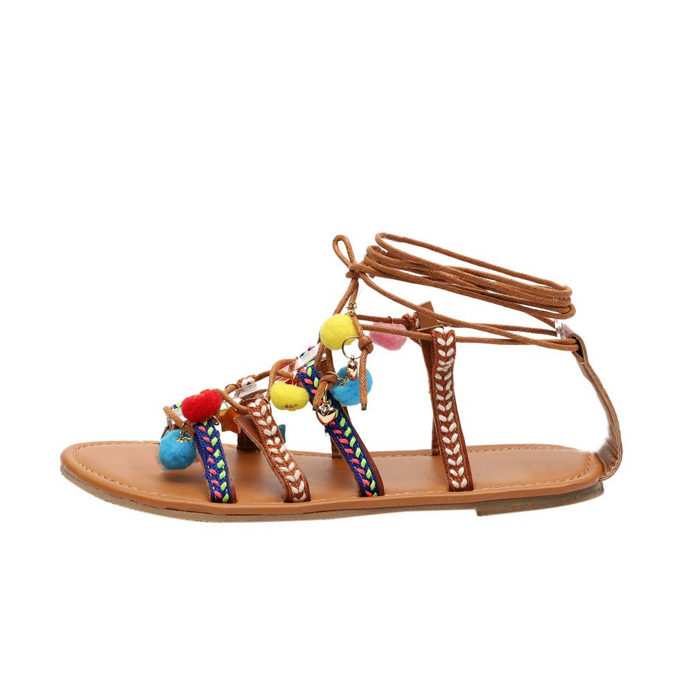 Women's Flat Sandals Casual Gladiator Sandals Summer Strappy Thong Flats Shoes Bohea Beach/Travel Shoes