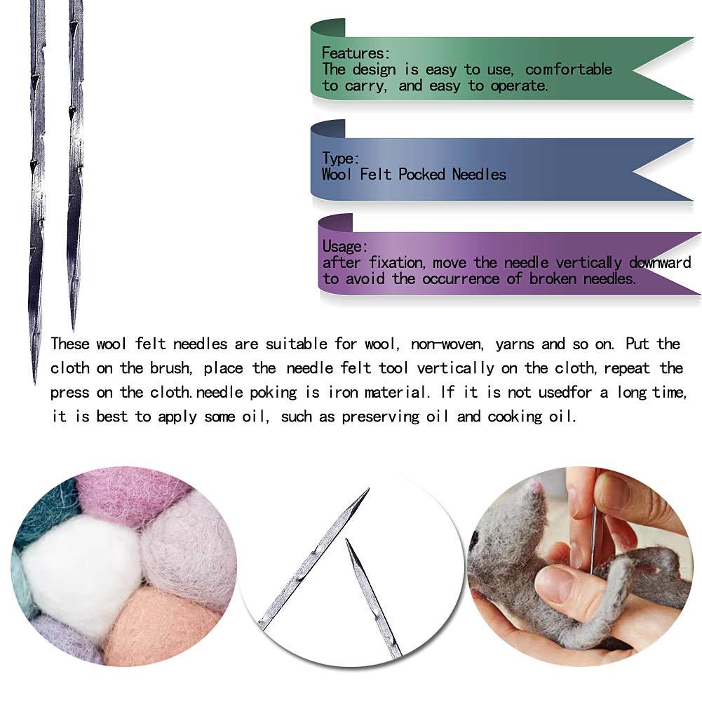 Mayboos Needle Felting,Wool Felting Supplies with 4 Types Star,Twisted,Cone,Triangular Felting Needles Color Coded Wool Felting Needles Tool Kit with Needle Bottle