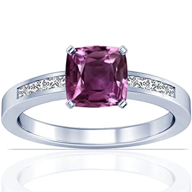 Amazon Com 18k White Gold Cushion Cut Pink Sapphire Ring With