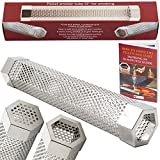 Kaduf Pellet Smoker Tube 12'' - Up to 5 Hours Smoking - Add to Your Grill or Smoker For Extra Smoke Flavor - Cold & Hot Smoking - Works With Pellets and Wood Chips - Hexagonal