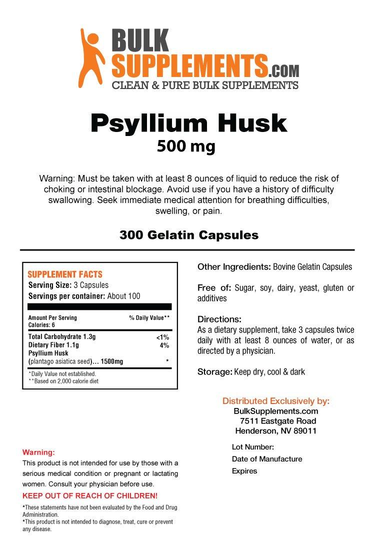 Bulksupplements Pure Psyllium Husk (300 Gelatin Capsules)