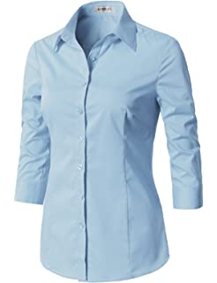 babd228d349 CLOVERY Women s Tailored 3 4 Sleeve Slim Fit Basic Simple Button-Down Shirt