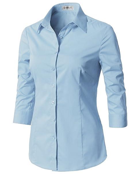 6b038b3e CLOVERY Women's Tailored 3/4 Sleeve Slim Fit Button Down Shirt Aqua XS