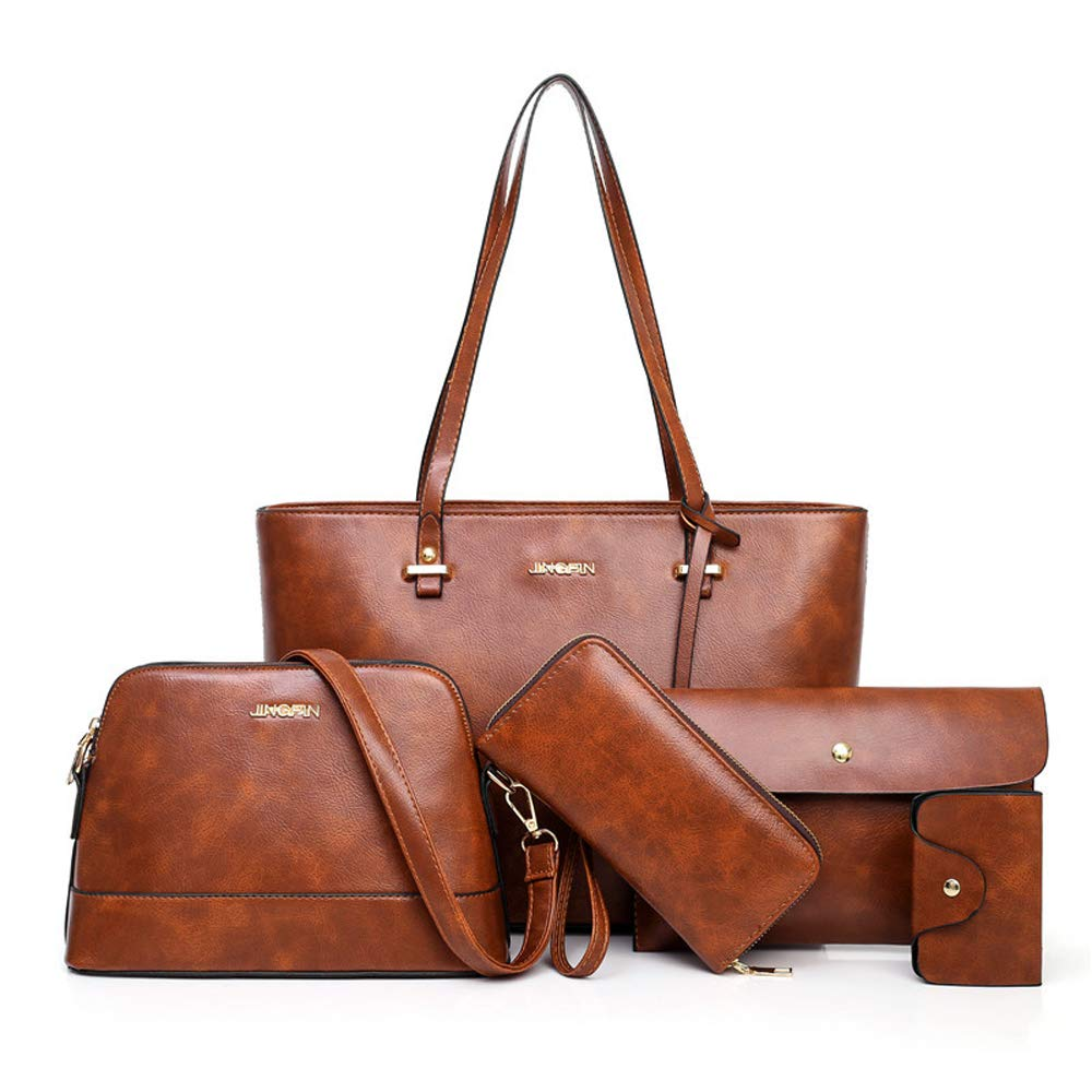 Brown Large Leather Tote Bag for Women Purses and Handbags Sets Shoulder Bags 5pcs