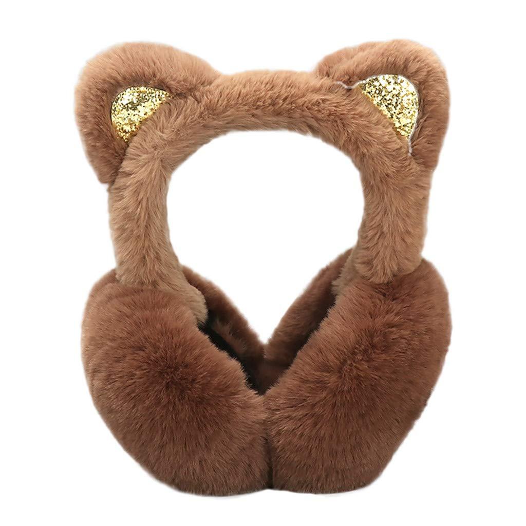 Hosamtel Women Cute Cat Ears Design Windproof Winter Warm Faux Fur Adjustable Earmuffs (2#Coffee)