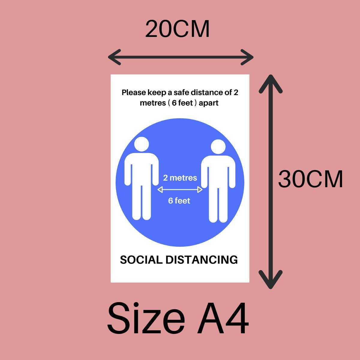 300mm X 200mm Wall Markers Self Adhesive Poster Social Distancing Wall Stickers Keep 2 Meter Away Wall Sign 4 x Blue Social Distancing Stickers 2 meter Wall Stickers Safety Sign