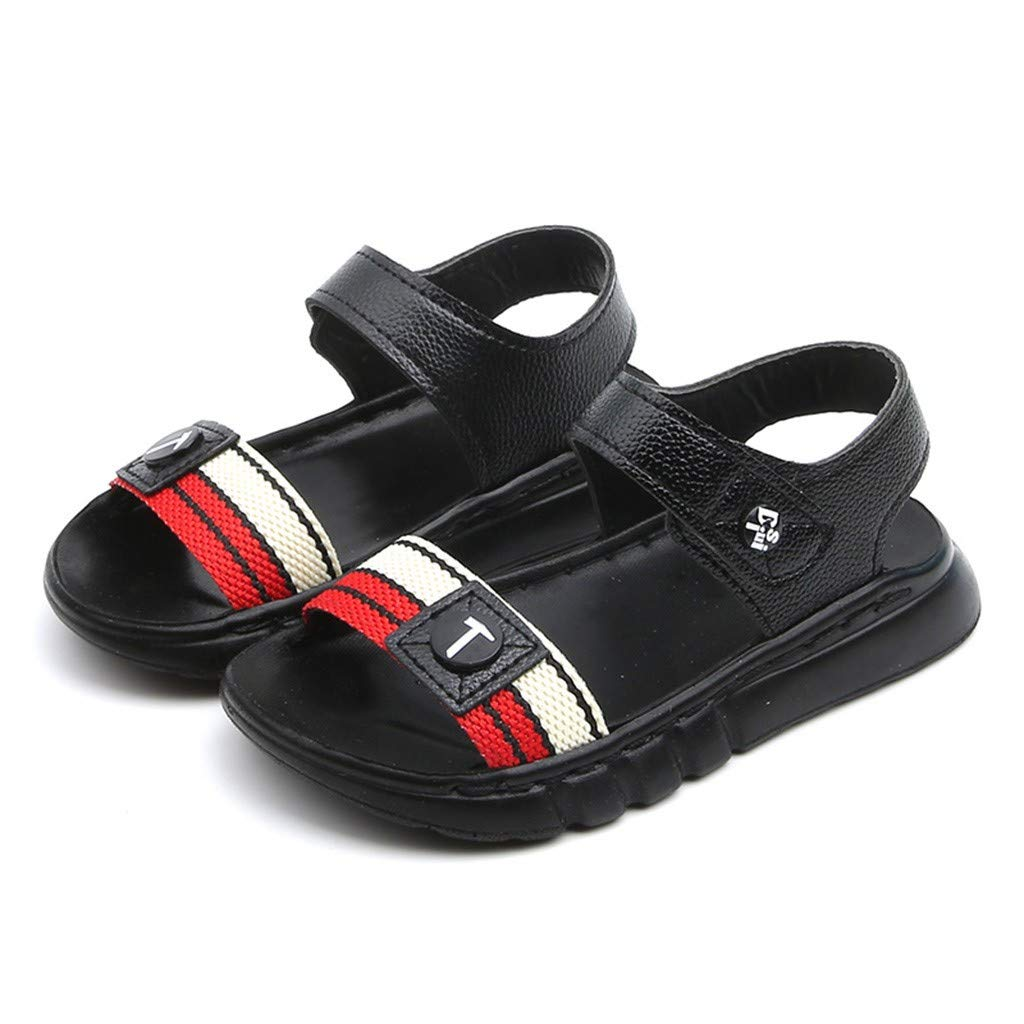 Kiminana Summer Children's Boys and Girls Letters Soft Bottom Non-Slip Beach Shoes Sandals Black
