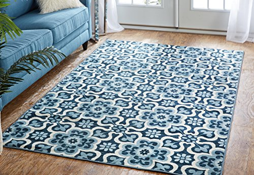 Mohawk Home Soho Marjorelle Gardens Floral Printed Area Rug, 7'6x10', Blue]()