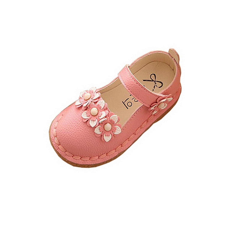 AHATECH Ballerines Fille Princesse Chaussures Enfant Bebe Velcro Plates Ceremonie Mariage à Fleurs - Rose