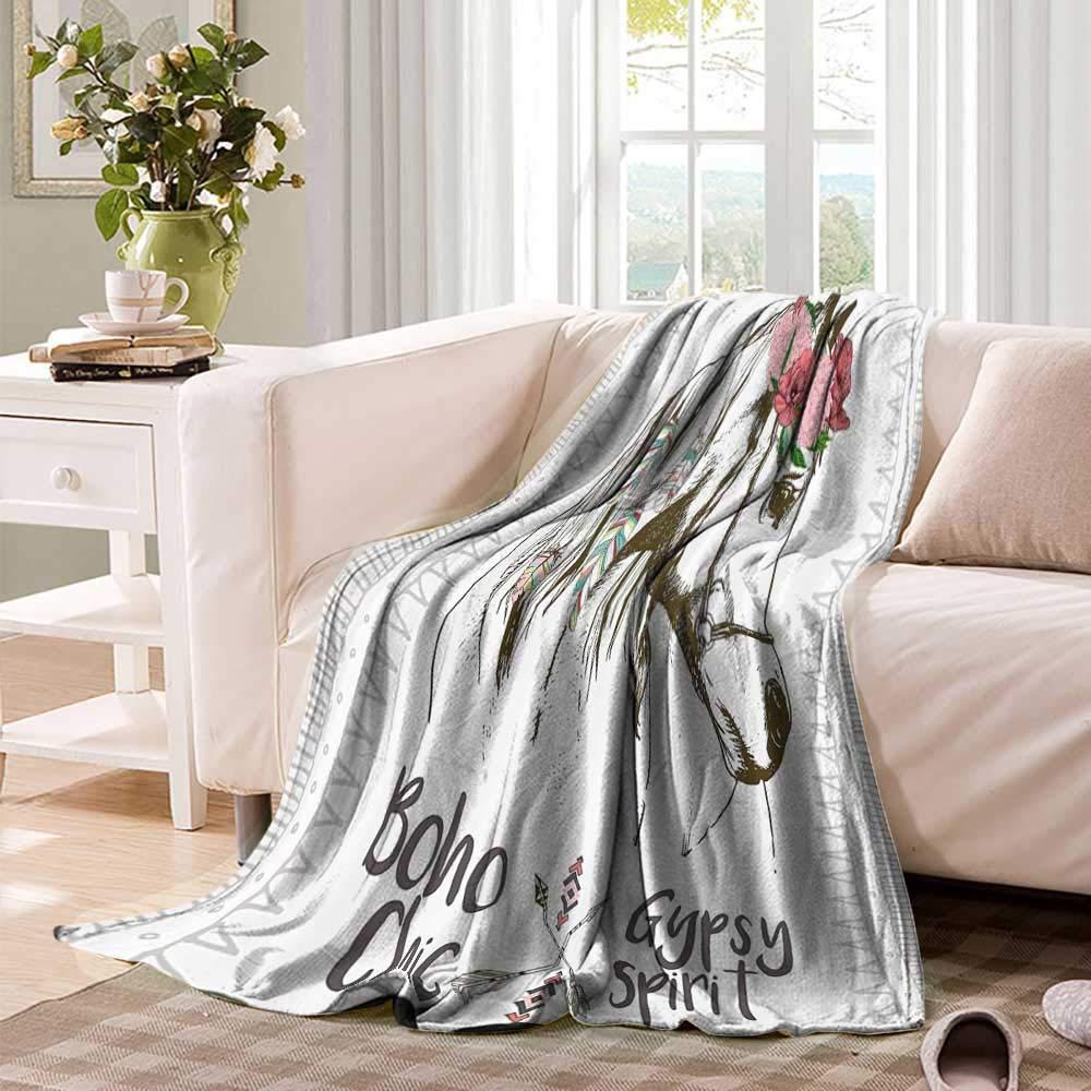 Amazon.com: Luckyee Throw Blanket Animal,Boho Horse Head ...