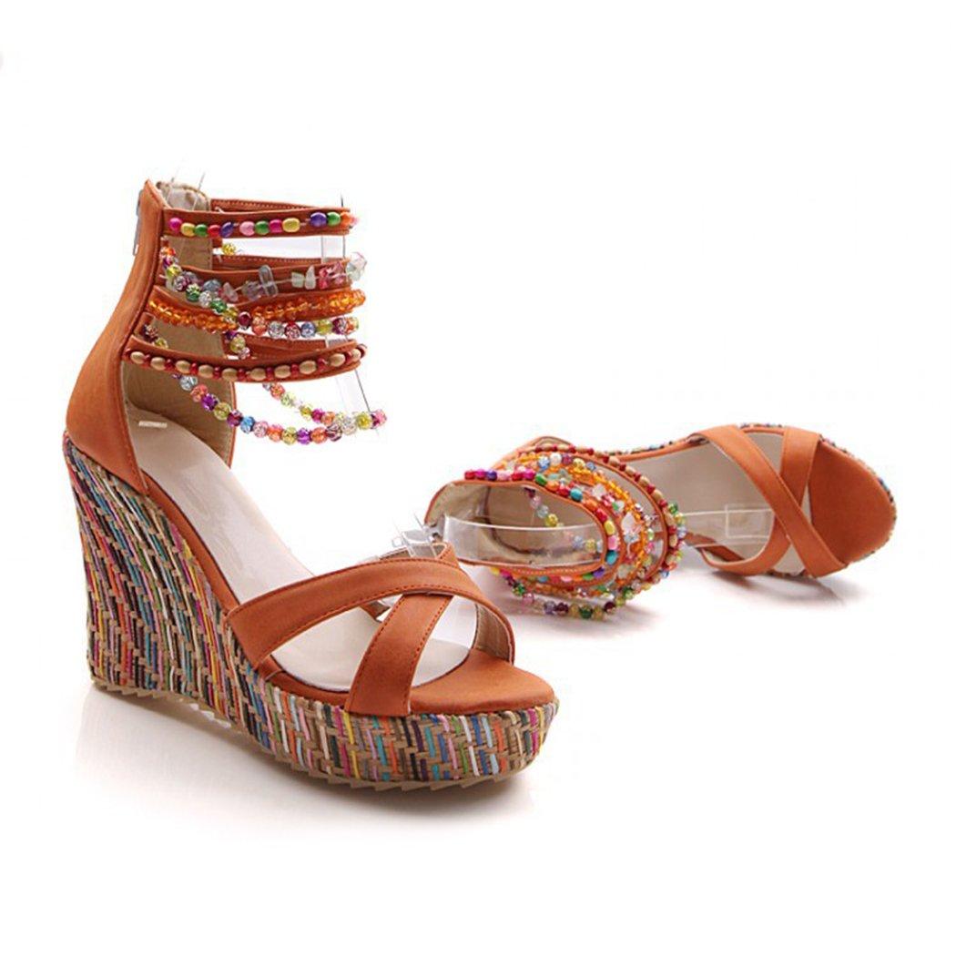 Raylans Women's Open Toe Wedge Sandals Pearls Across The Top Platform High Heels Orange
