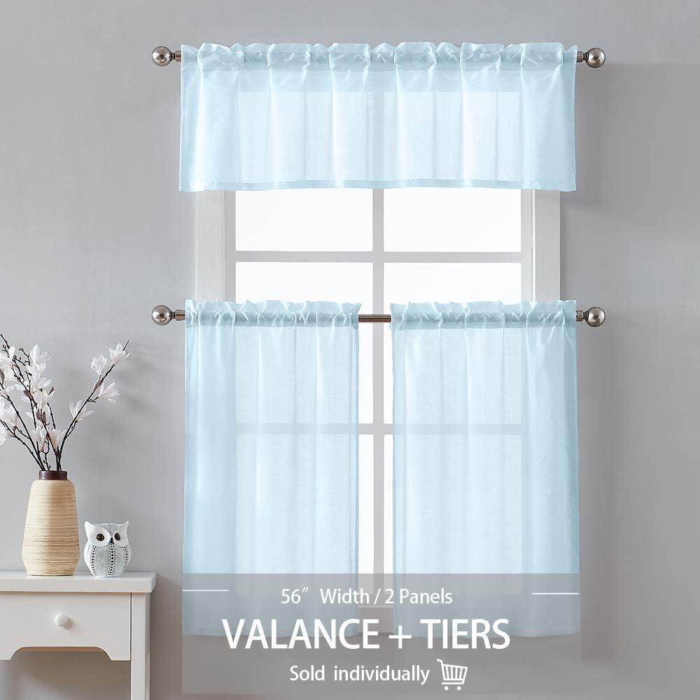 VOSAREA Valance Curtain Window Short Curtain for Kitchen Living Dining Room Bathroom Bedroom