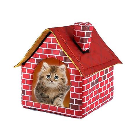 SUFU - Cama de Mascotas extraíble con diseño de ladrillo Rojo Lavable, Cama para Perro