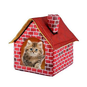 feiledi - Cama para Mascotas extraíble Lavable de Color Rojo ladrillo casa de Perro Cama Individual