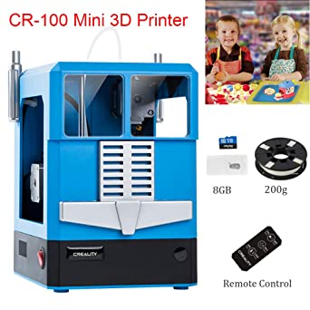 Creality CR-100 Awesome One-Button Printing FDM Kids Mini 3D Printer Adorable Design for Kids (Blue)