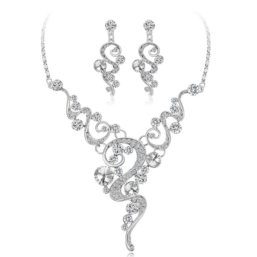 Ladies Jewelry Necklaces and Earrings Set,Women Fashion Crystal Necklace Jewelry Statement Pendant Charm Chain Choker,Gray