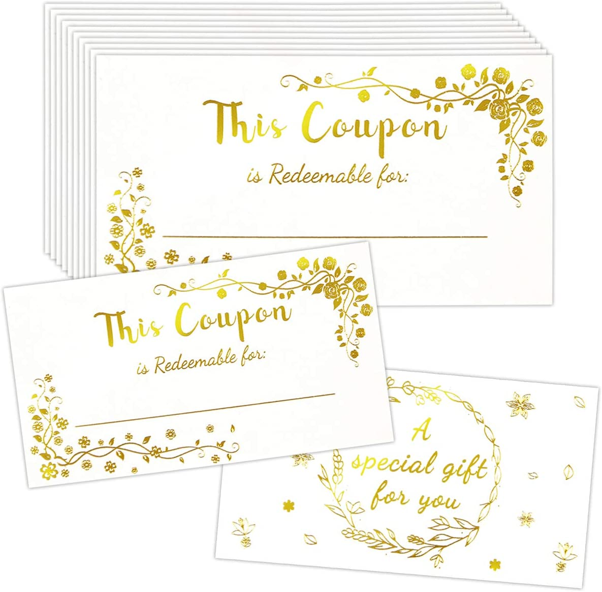 """50 Coupon Cards Gold Foil Blank Gift Certificates Employee Appreciation Gifts Redeem Vouchers 2"""" X 3.5"""""""