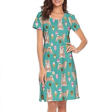 1b8cff0a2804 Shiba Inu Ice Cream Women Summer Tee Nightshirt Round Collar Short Sleeve  Nightdress Sleep Dress Polyester