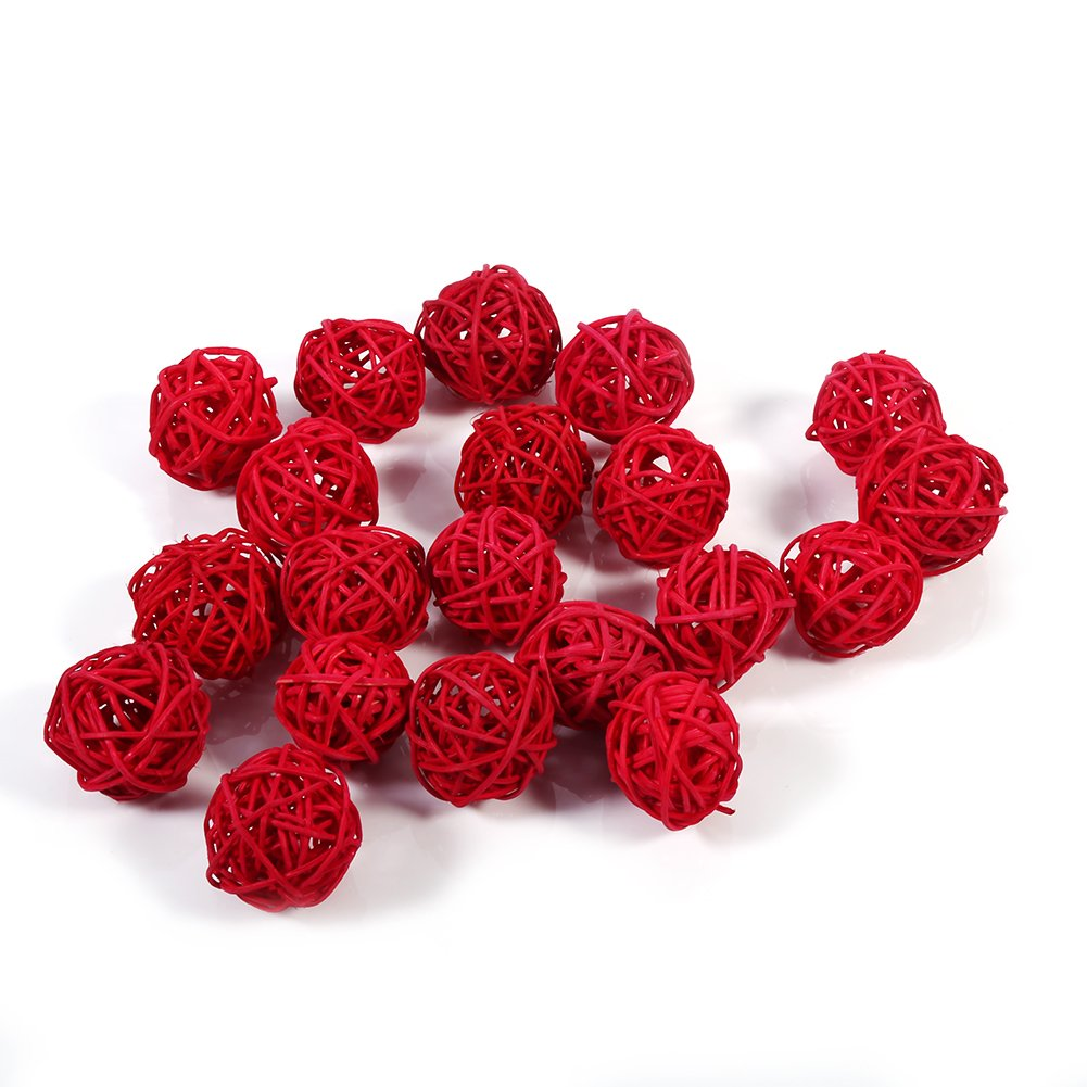 GLOGLOW 20Pcs/Set Wicker Rattan Ball Multiple Color Decoration Ornaments Wedding Christmas Party Table Desk Garden Hanging Decoration(Red)