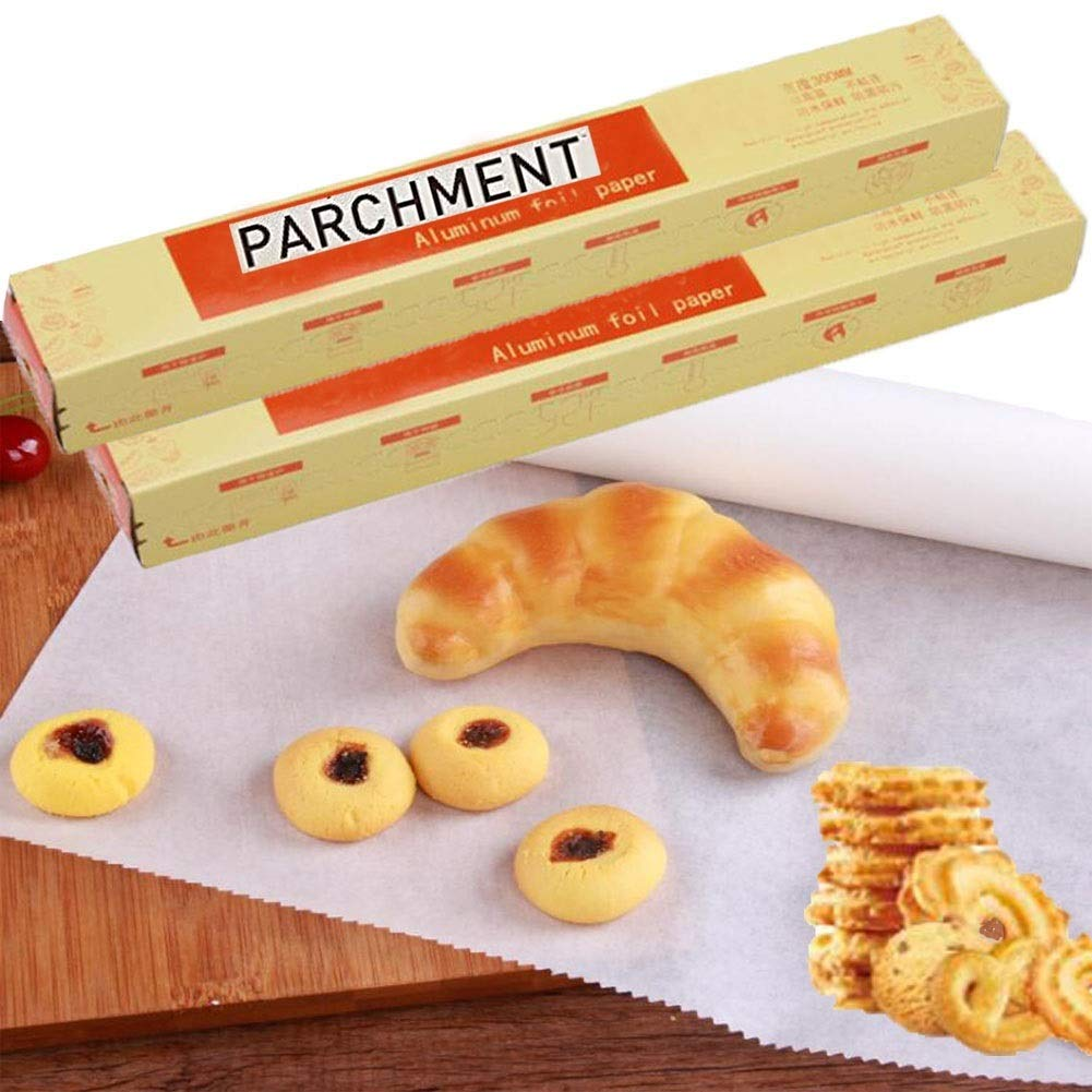 Sakolla Set of 2 Pack Non Stick Parchment Paper Natural Silicone Two-Sided Coated Genuine Vegetable Parchment Paper