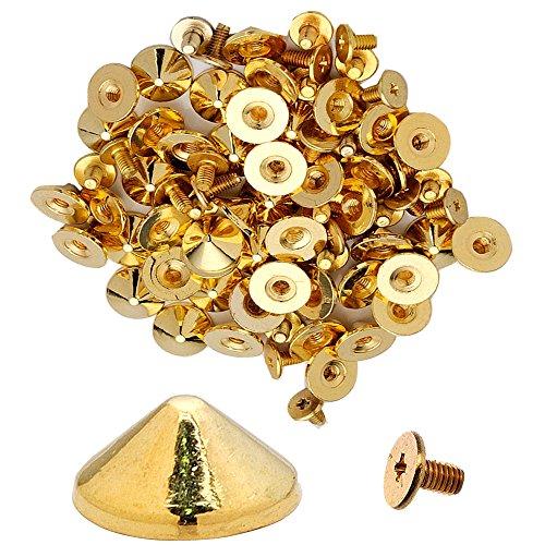 100pcs Cone Spikes Screwback Studs DIY Craft Cool Rivets Punk Stud Flat Cone Style 10x5mm 3/8x1/4 (Flashing Golden)