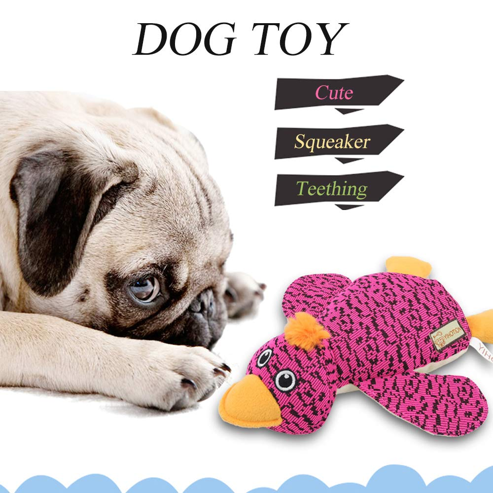 AXEN Cute Flyknit Durable Squeaky Duck Shaped Dog Toy for Aggressive Chewers, Pink Duck