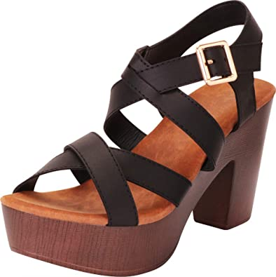 948408911b0 Cambridge Select Women s Retro 70s Crisscross Strappy Chunky Platform Block  Heel Sandal