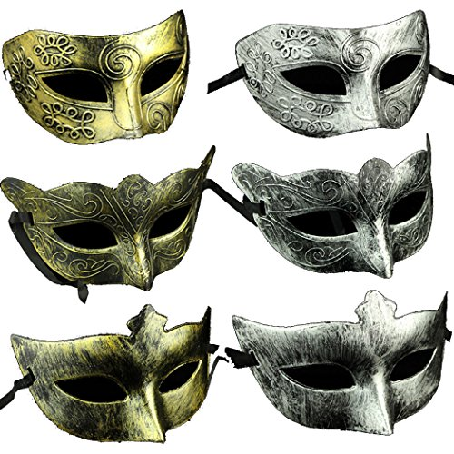 Adults Vintage Antique Look Venetian Party Mask (Pack of 6) -